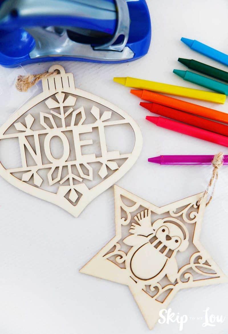 wooden ornament crayons