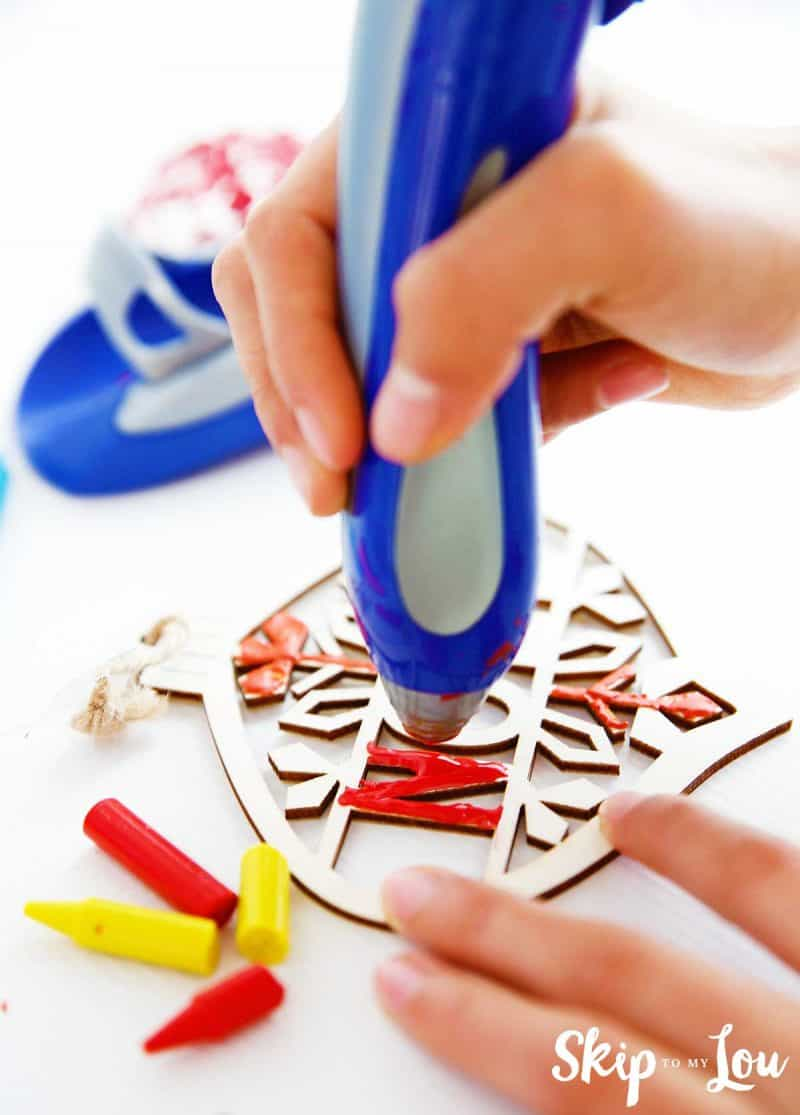 crayon melter painting wooden ornament