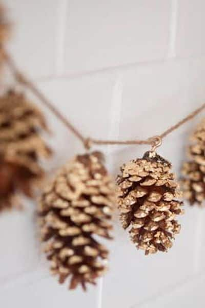 gold pinecones