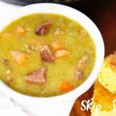 split pea soup in bowl with cornbread