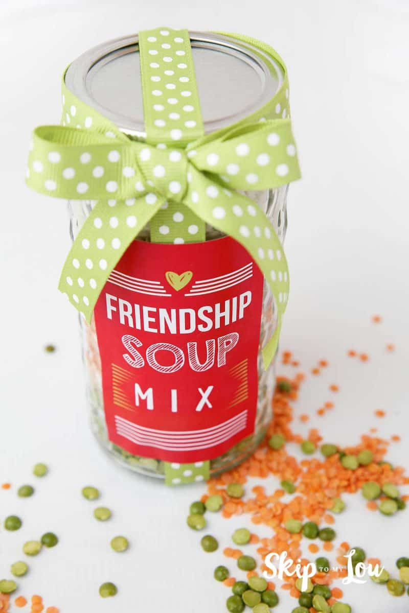 friendship soup mix in a jar with lentils and peas scattered