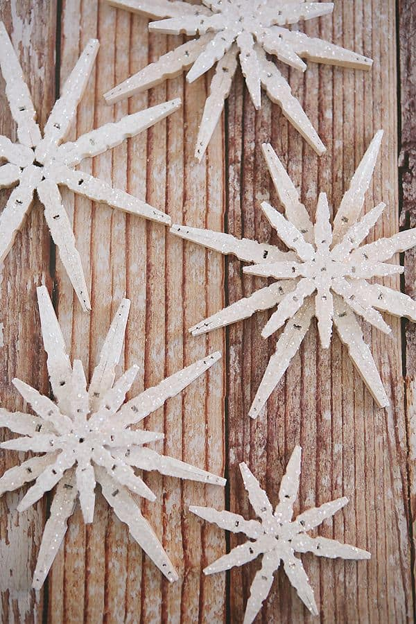 glitterred snowflakes