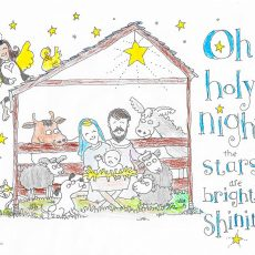 colored nativity coloring page