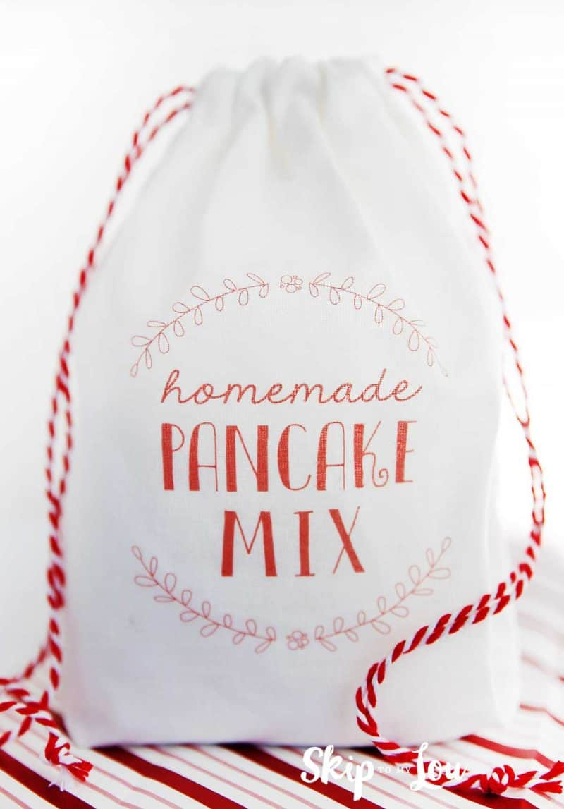 pancake mix in white bag with red printed label