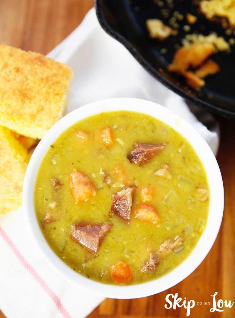 overhead shot split pea soup cornbread in skillet