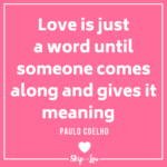 love is just a word Valentines day quote on pink background