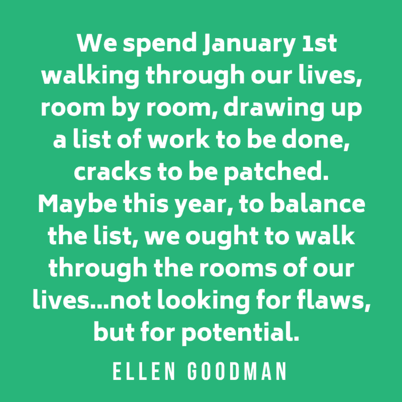 New Year Quote by Ellen Goodman on green background