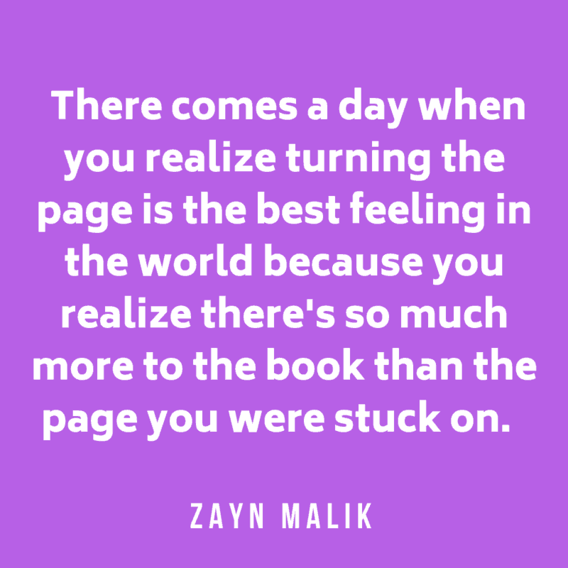 Quote about book bu Malik on purple background