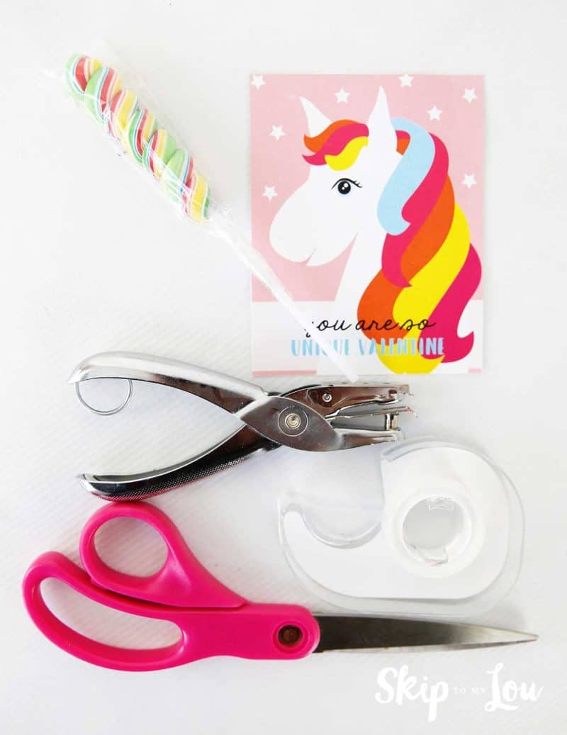 rainbow twisty sucker tape hole punch scissors printable unicorn valentine