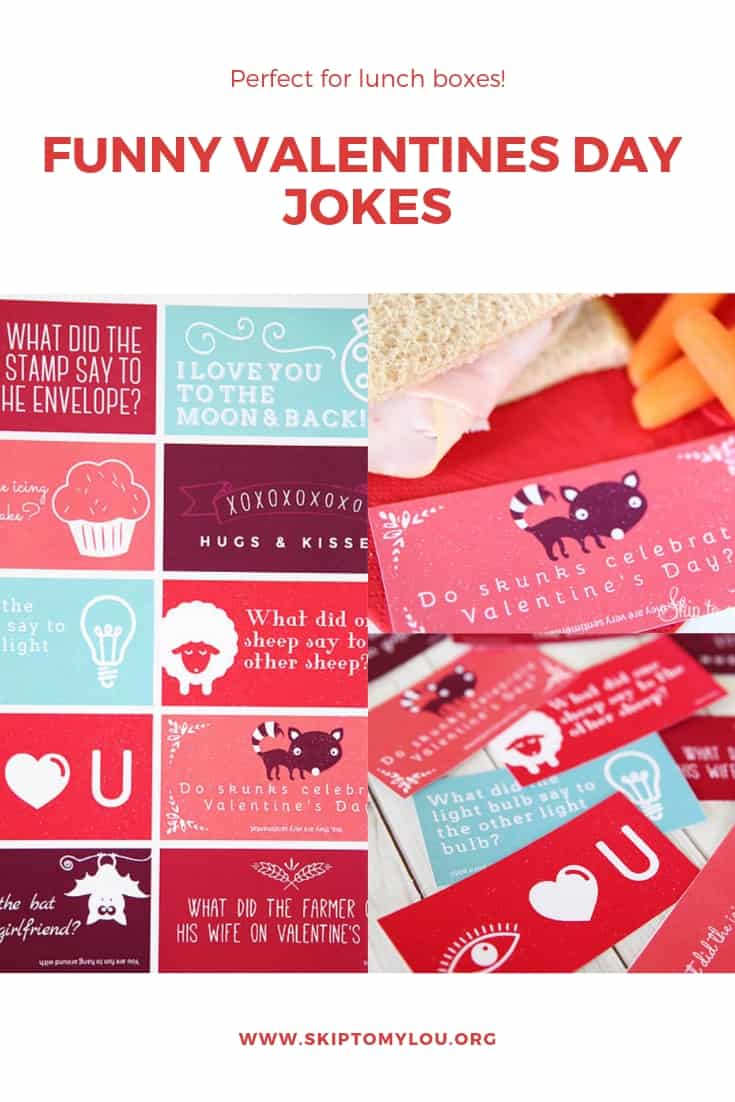 Share a smile with these Valentine Jokes. Over 30 funny Valentine's Day jokes to bring laughter. The best part is there is a printable page of jokes to slip inside your child's lunch. #ValentinesDay #Jokes #kids