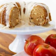 apple cake on white cake stand