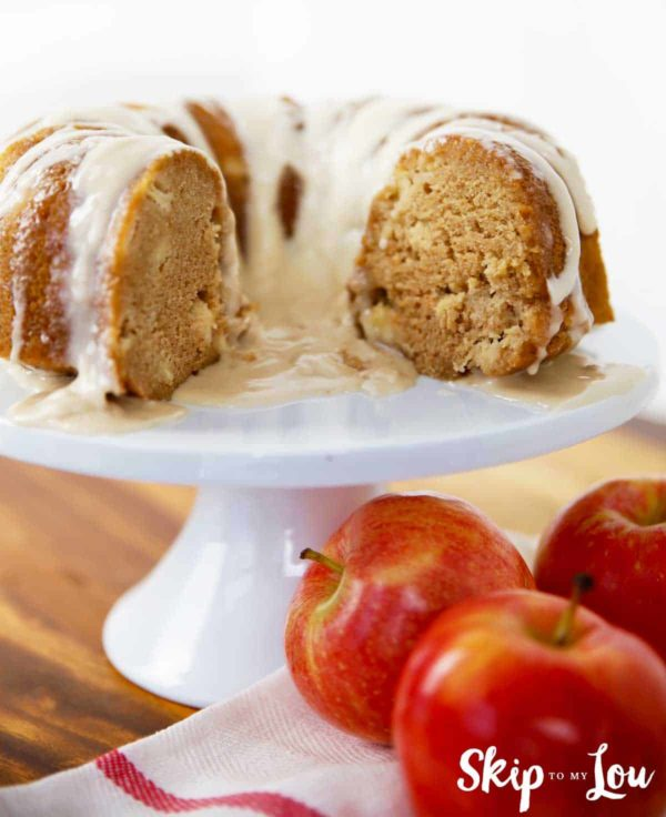 apple cake on white cake stand