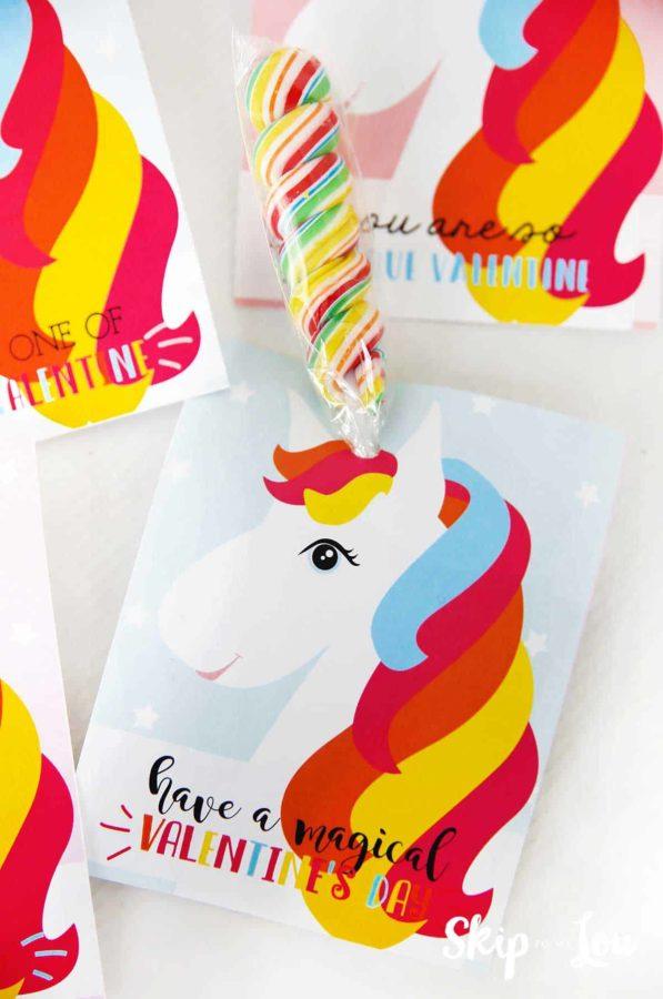 free printable unicorn valentine with sucker horn