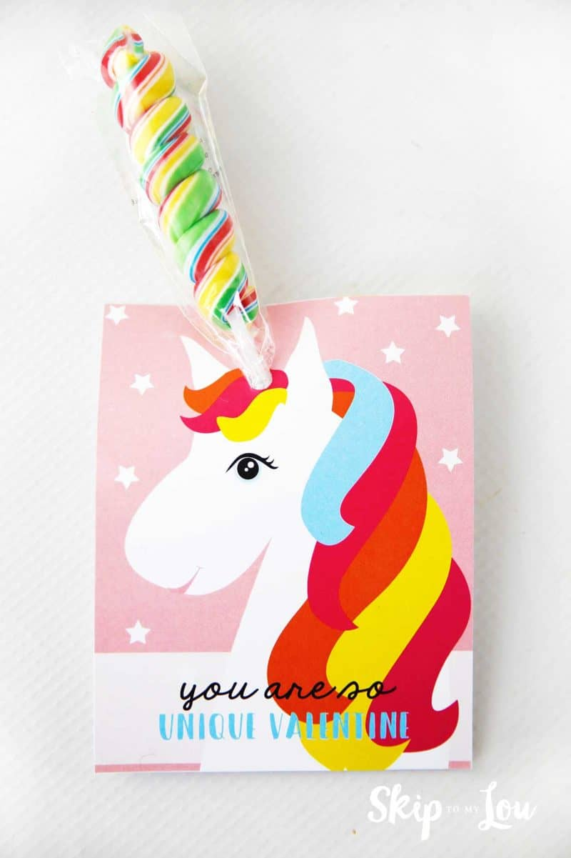 unicorn valentine with rainbow candy horn