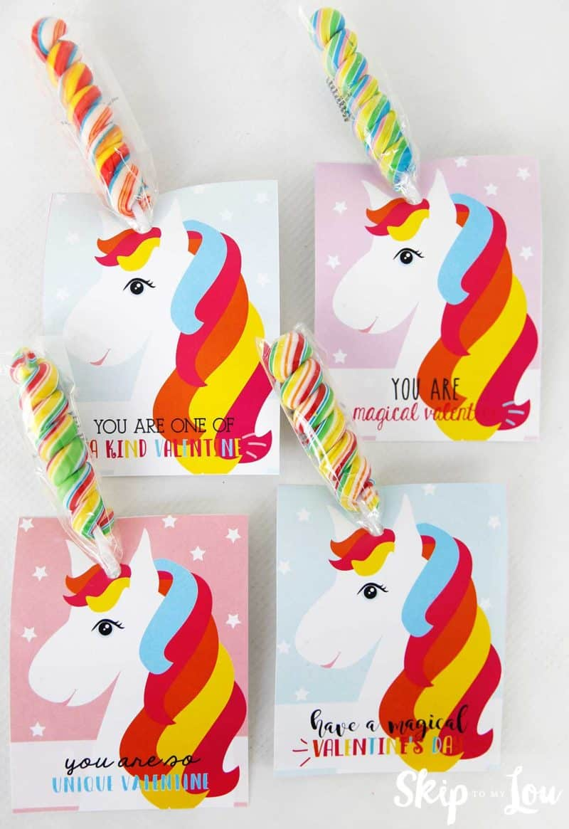 four styles of unicorn with rainbow lollipop horns