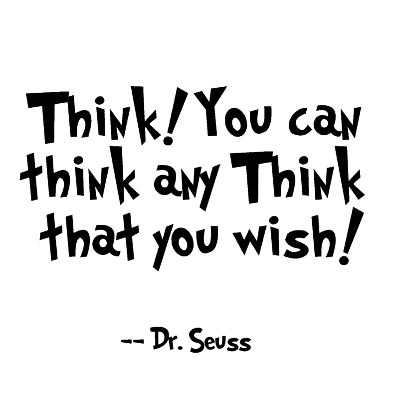 think! quote black and white