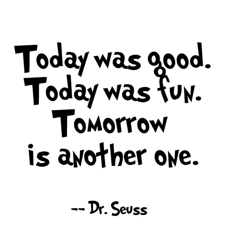 Today was good. Today was fun. Tomorrow is another one. ― Dr. Seuss