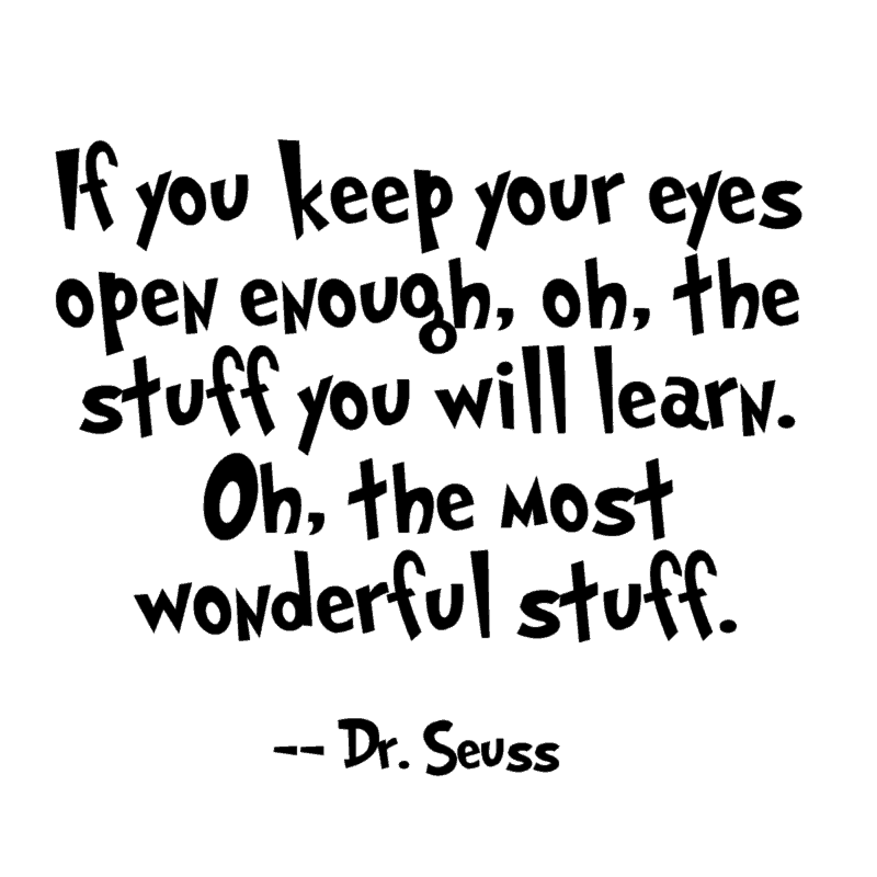 If you keep your eyes open enough, oh, the stuff you will learn. Oh, the most wonderful stuff. – Dr. Seuss