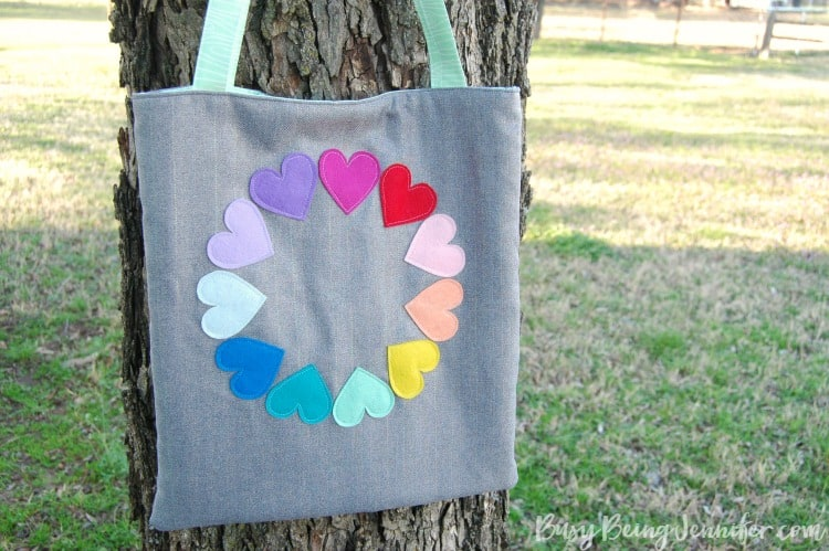 heart rainbow tote