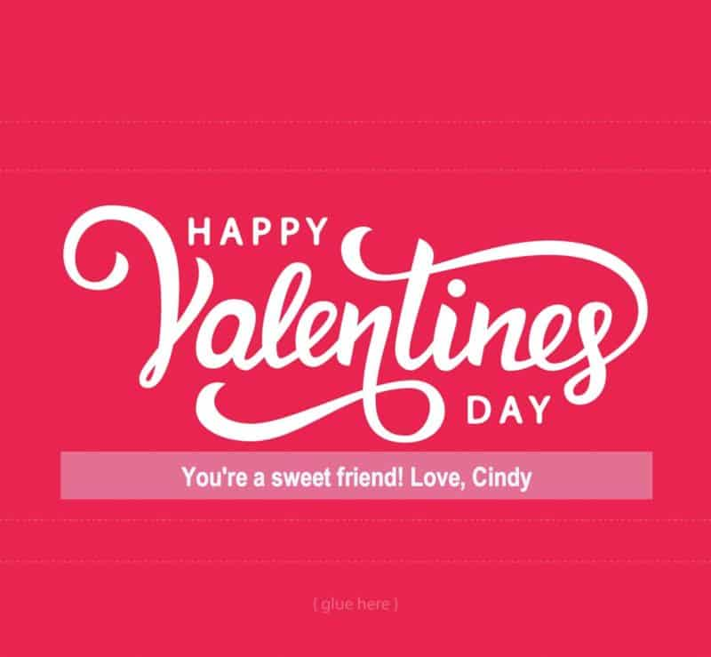 Happy Valentines Day candy wrapper with editable field