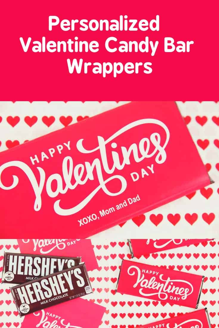 A Valentine Candy Bar Wrapper is a clever way to give chocolate bars on Valentine's Day. You will find a free printable for both large and small candy bars. The large candy wrapper can even be personalized! Write yourvery own message! #Valentines #printables