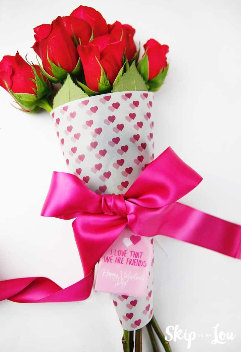 printable flower wrap Valentines Day