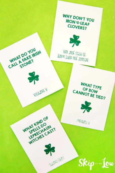 four st patricks day jokes on green background