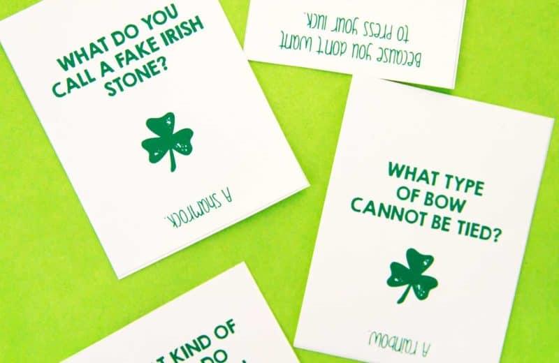 four st patricks day jokes on green background