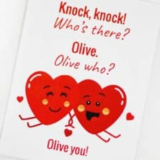Olive you knock knock joke printable card
