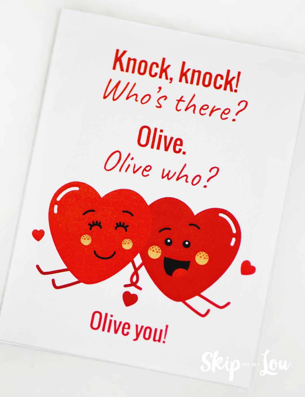 Olive you knock knock joke printable card