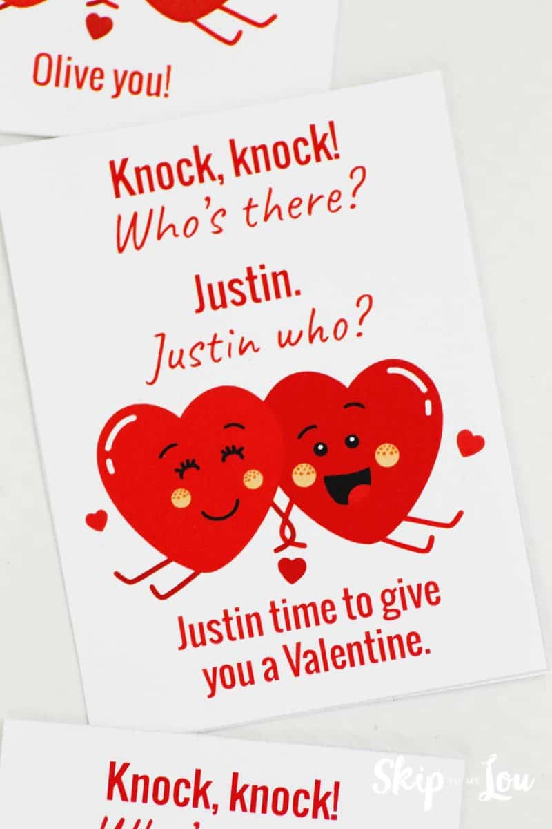 justin time knock knock joke card