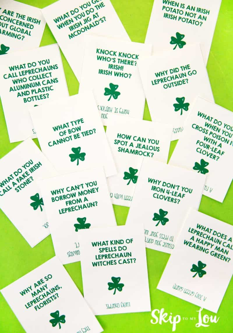 st patricks day jokes printable cards on green background