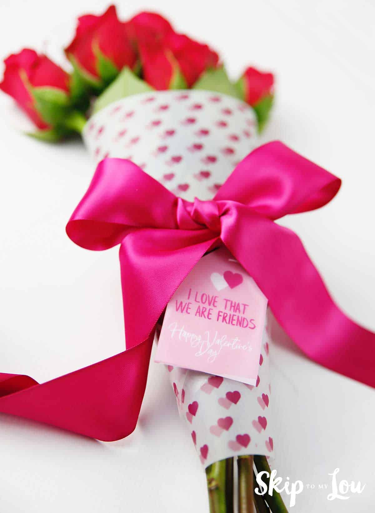 Valentine Printable Flower Bouquet Wrap Skip To My Lou