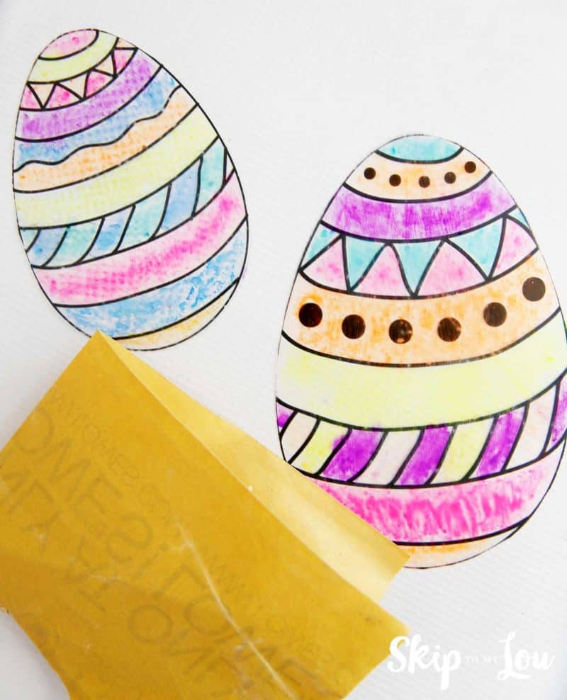 easter egg sun catchers and sand paper