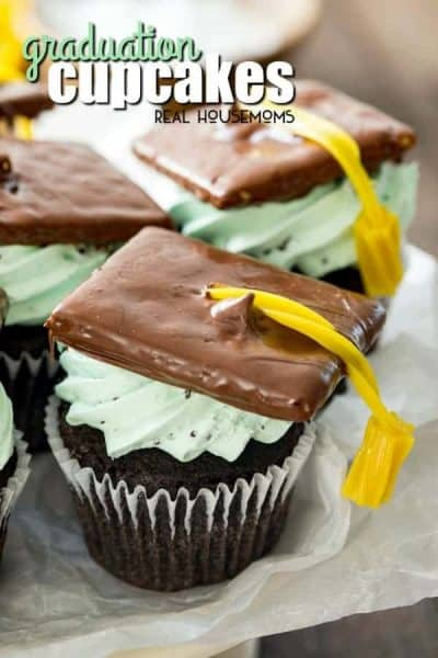 chocolate cupcakes with mint frosting chocolate dipped graham cracker with yellow licorice tassel