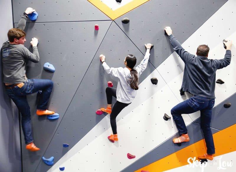 family wall climbing