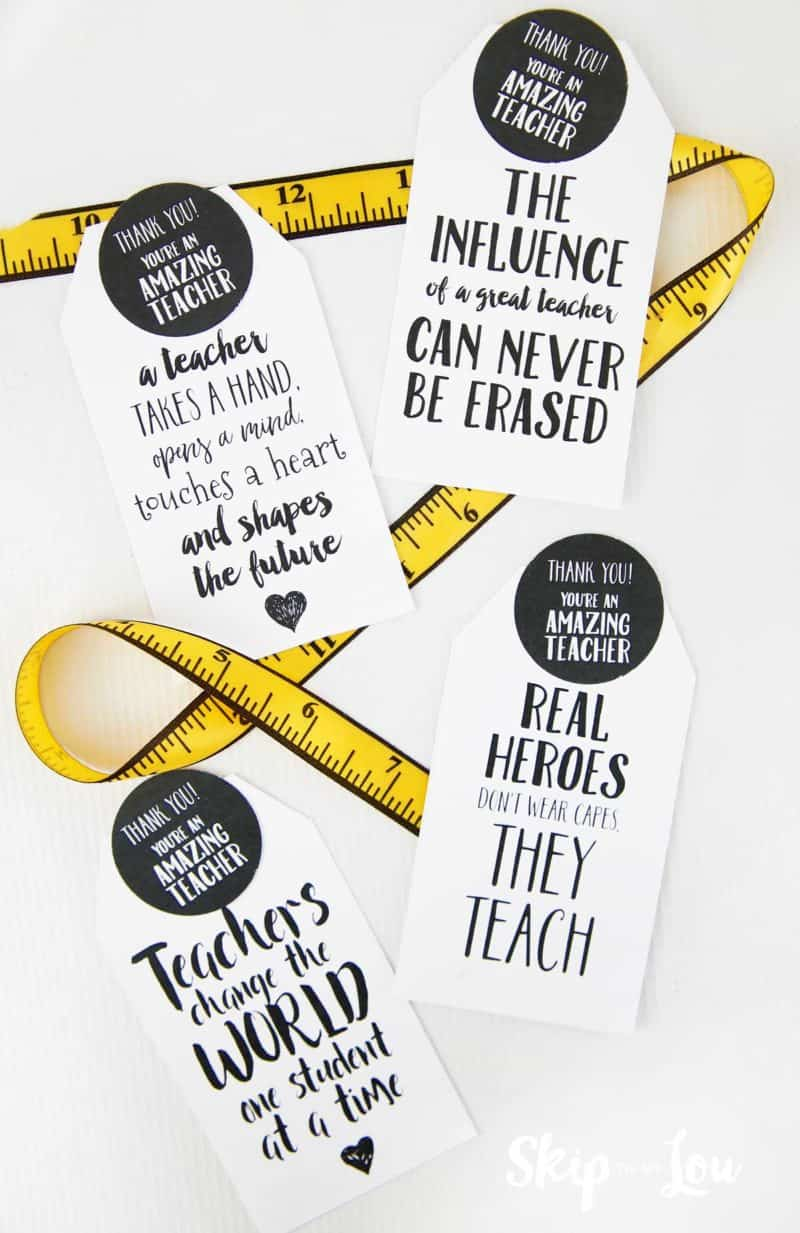 printable teacher gift tags with measuring tape ribbon