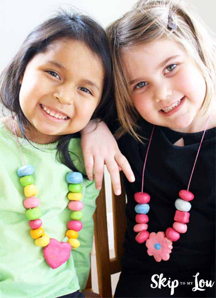 girls wearing salt dough necklaces