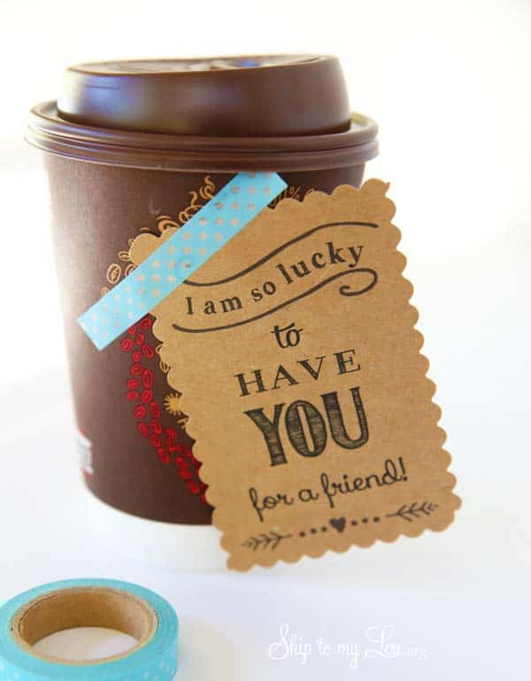take out coffee gift tag taped to side