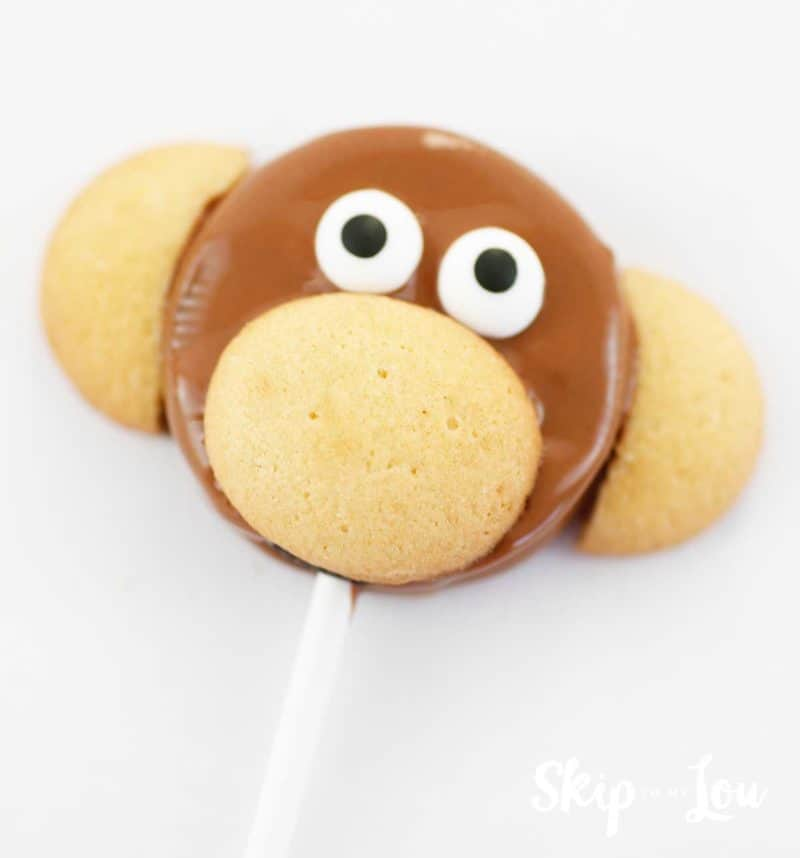 dipped cookie with mini cookies added for monkey features