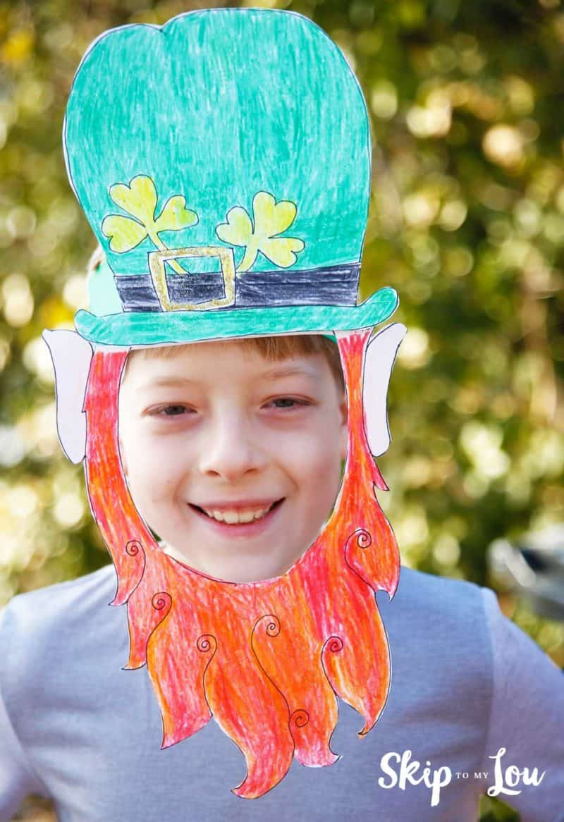 boy wearing printable leprechaun mask