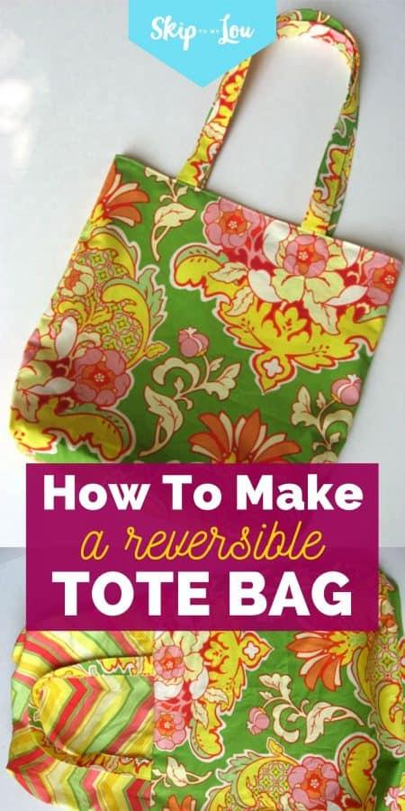 reversible tote bag tutorial PIN