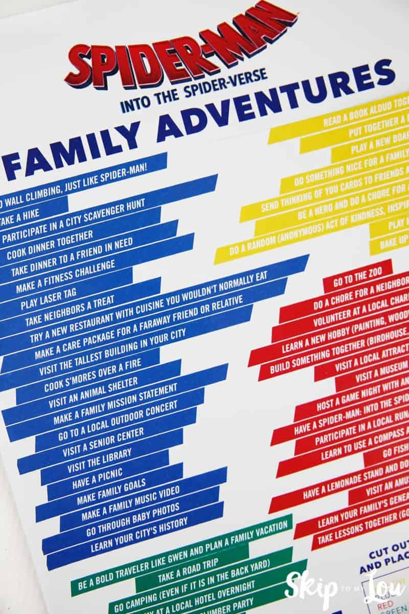 family adventure printable