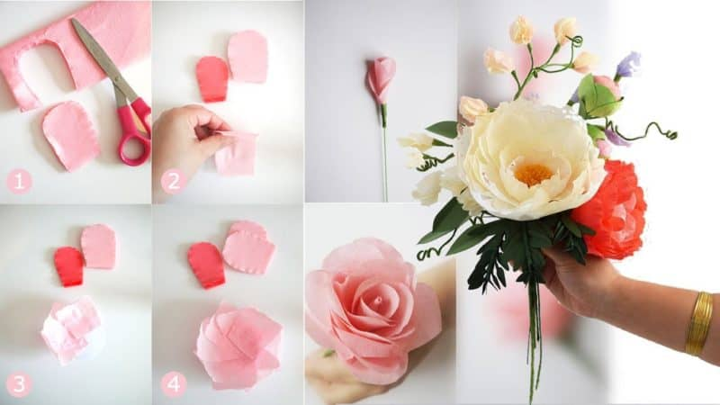 step by step how to make paper flowers