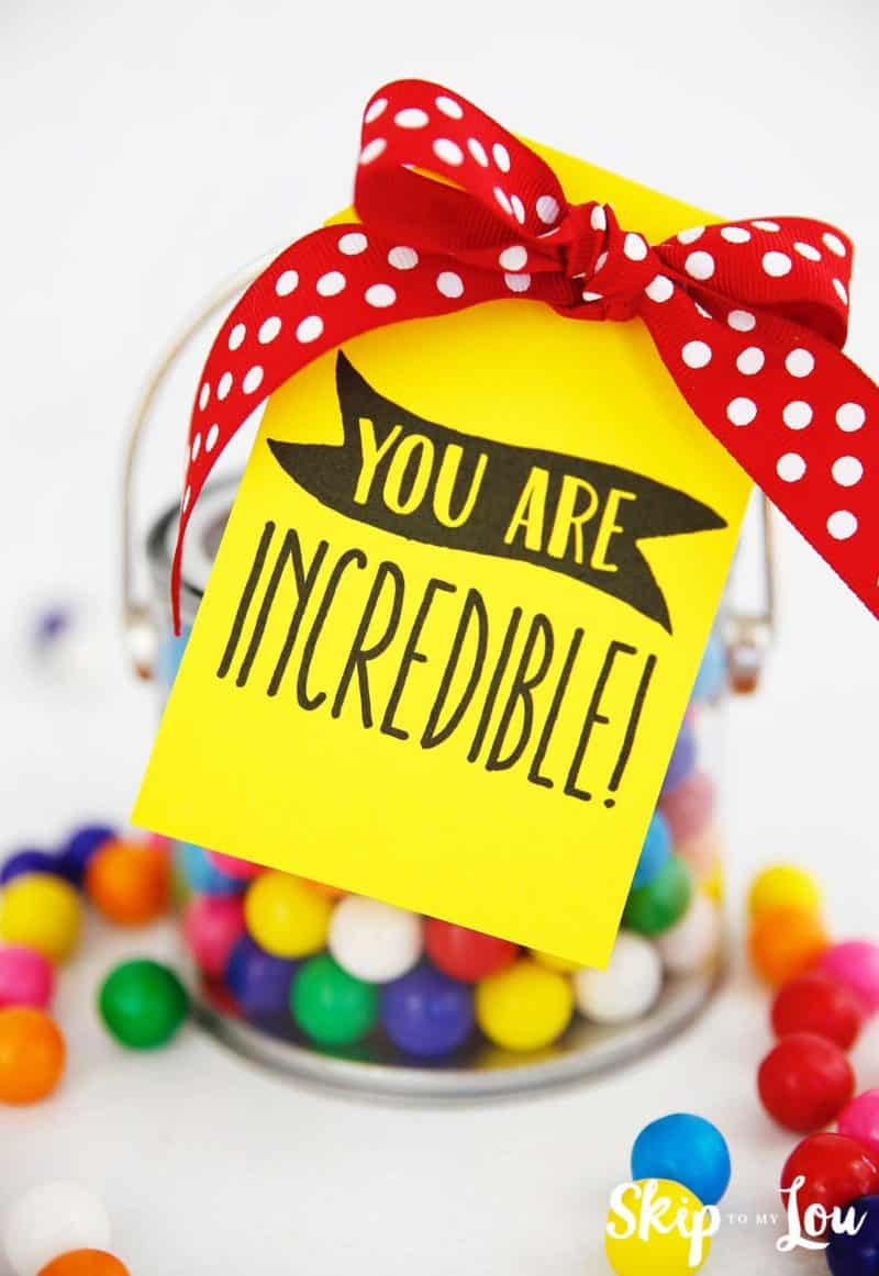you are incredible tag attached to jar of gum balls with red bow