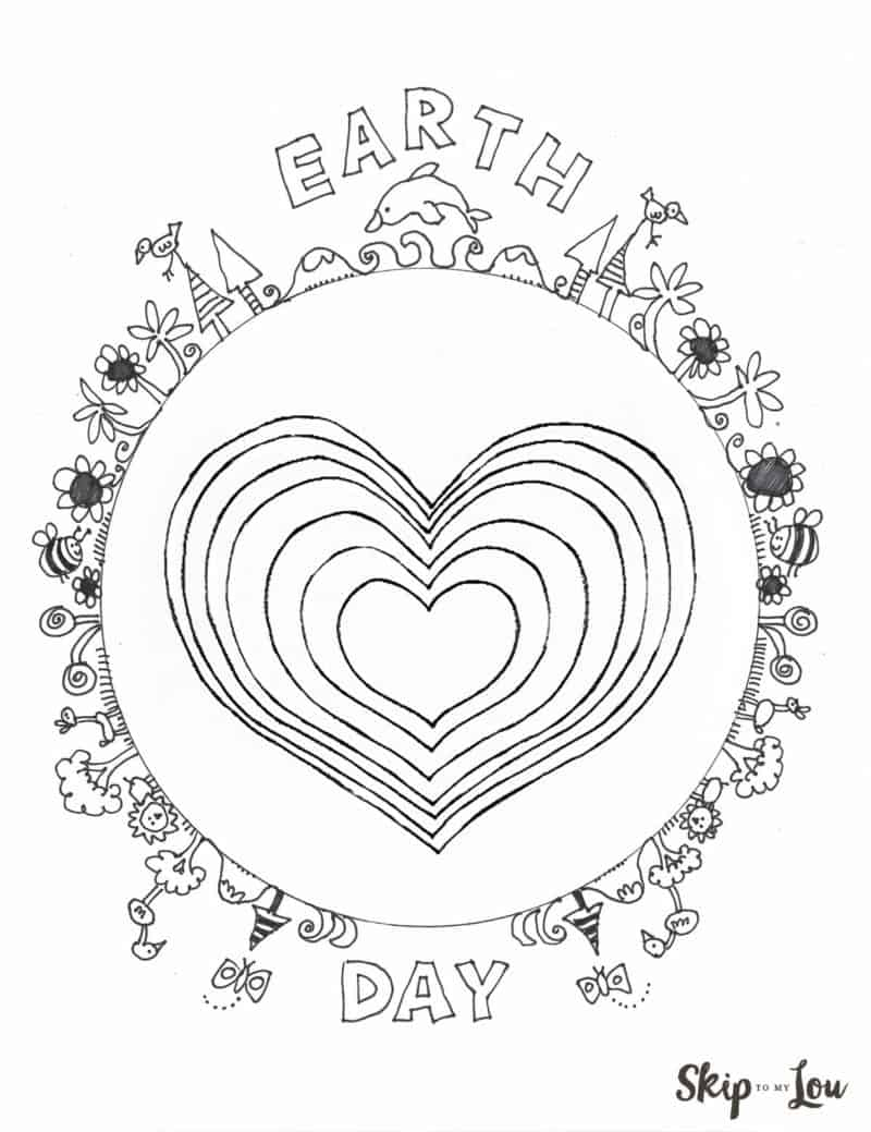 earth day coloring page with heart