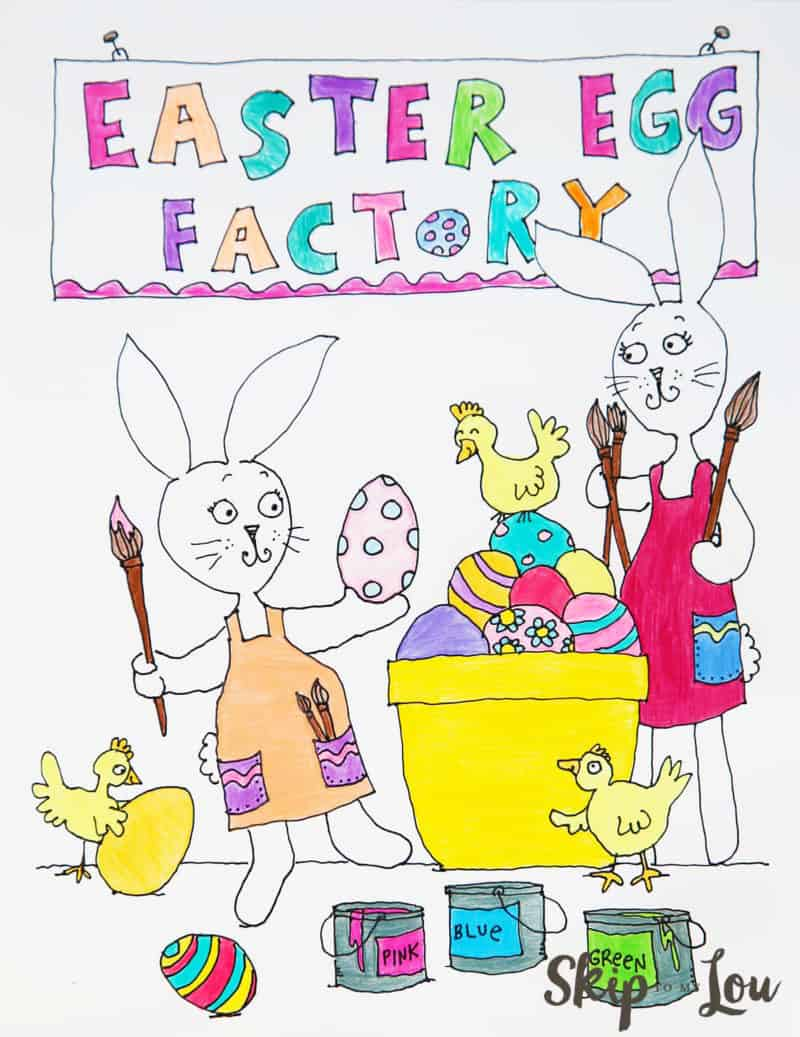 colored Easter egg coloring sheet