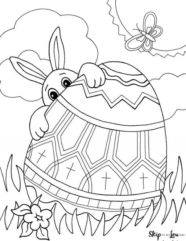 bunny peeking over egg