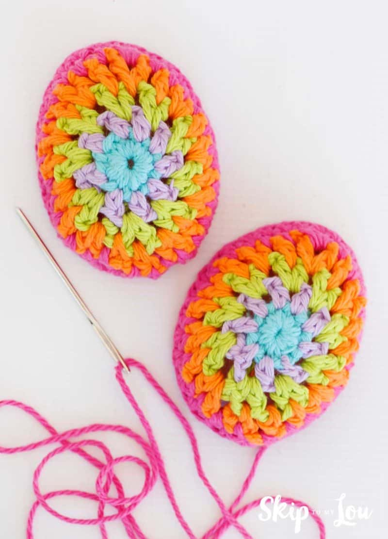 crochet egg halves yarn needle