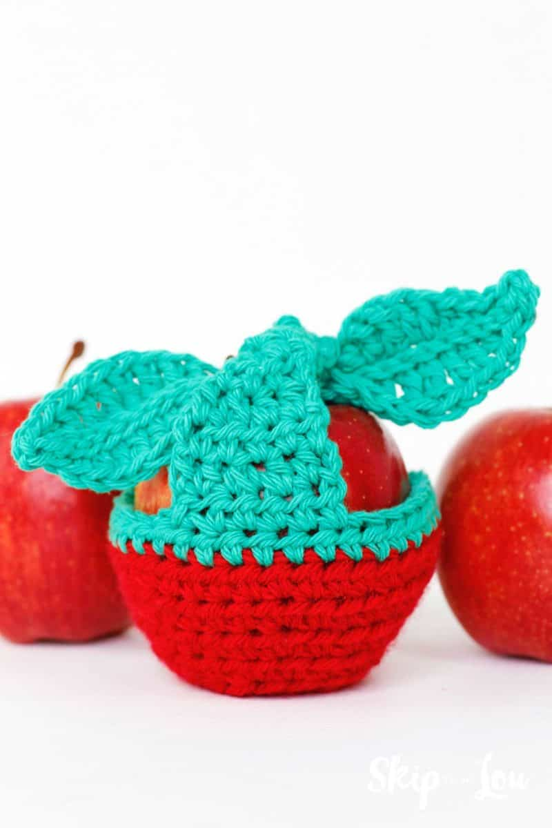 apple inside a crochet apple cozy with apples on each side